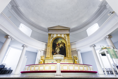 Inside the Helsingin tuomiokirkko (Helsinki Cathedral), the Finnish Evangelical Lutheran cathedral of the capital of Finland