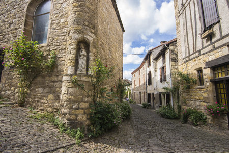The streets and houses of Cordes-sur-Ciel, a beautiful medieval town in southern France