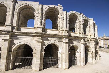 The Arles Amphitheatre (Arenes d'Arles in French), a two-tiered Roman amphitheatre in the southern France town of Arles. A World Heritage Site since 1981