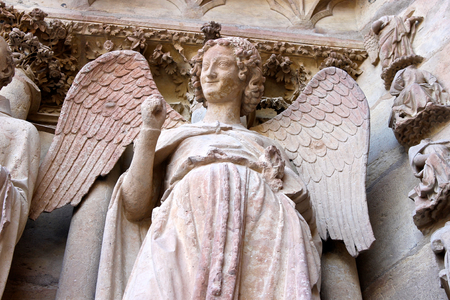 Reims, France. The Smiling Angel (l'Ange au Sourire), a famous sculpture of the Cathedral of Our Lady (Cathedrale Notre Dame)