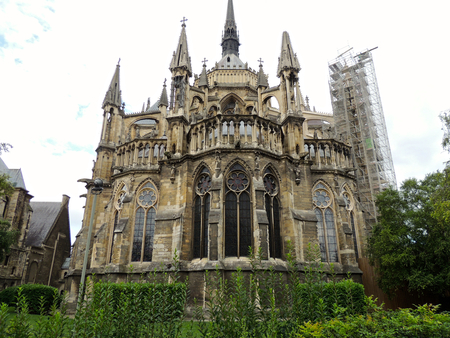 Reims, France. The Cathedral of Our Lady (Cathedrale Notre Dame), a major High Gothic building and landmark in the French city of Reims