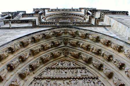 Reims, France. Details of the Cathedral of Our Lady (Cathedrale Notre Dame), a major High Gothic building and landmark in the French city of Reims