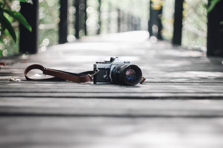 Photo for Camera on wood bridge - Royalty Free Image
