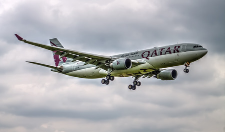 Manchester, United Kingdom  Qatar Airlines Airbus A330 landing to Manchester Airport HDR