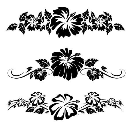 Illustration pour Various hibiscus hawaiian tropical flowers - image libre de droit