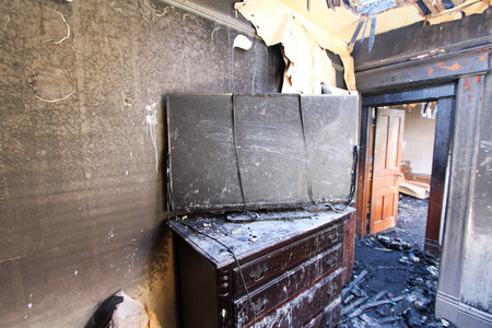 Burned TV in Bedroom.