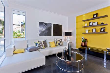 Foto de Interior view of a living room in new luxury home - Imagen libre de derechos