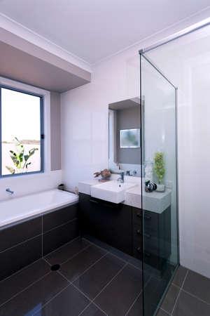 Foto de A luxury modern bathroom interior design view - Imagen libre de derechos