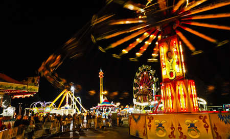 Fair Midway Rides at Night.