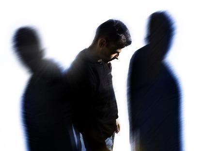Photo pour man with personality disorder, headache problems, mental disorder  - image libre de droit