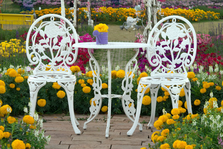 Garden table and chairs surrounded with colourful flower