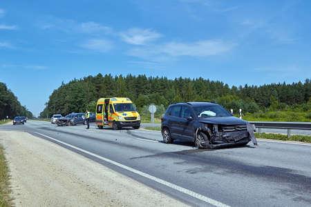 Foto de June 15,2020, Ogre, Latvia: car after accident on a road because of frontal collision, transportation background - Imagen libre de derechos