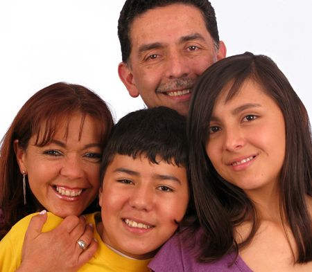 Happy Family over a white background