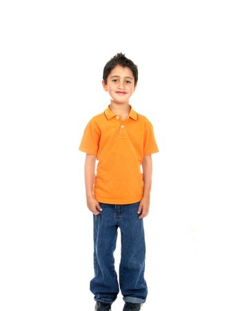 Child smiling  isolated over a white background