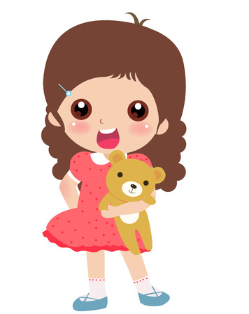 illustration of a cute little girl and teddy bear