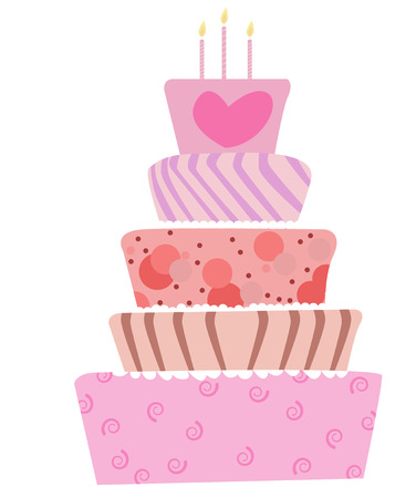 illustration of a cute cake for birthday or wedding