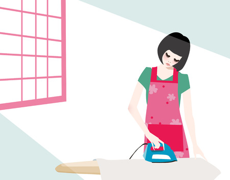 illustration of a pretty housewife ironing clothes