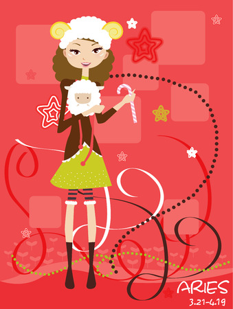 Illustraon of  fashion horoscope Aries cute funny girl