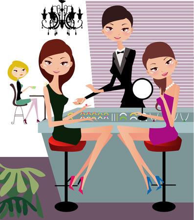 Illustraon of  fashion women shopping for jewelry