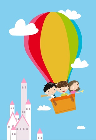 children and hot balloon
