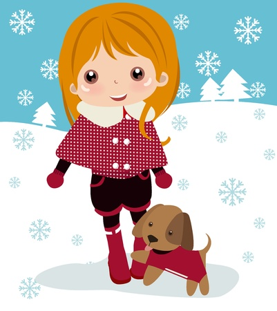Cute girl and dog