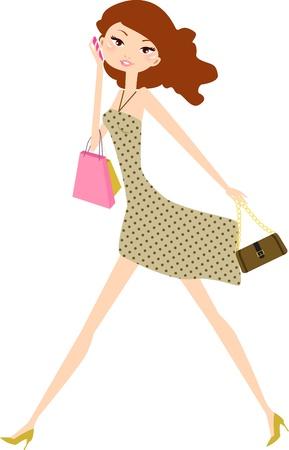 Ilustración de shopping girl - Imagen libre de derechos