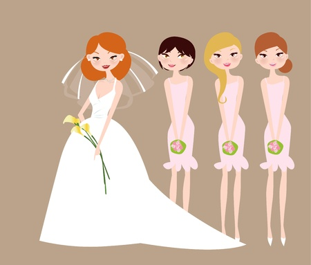 Bride and bridesmaids with flower girl