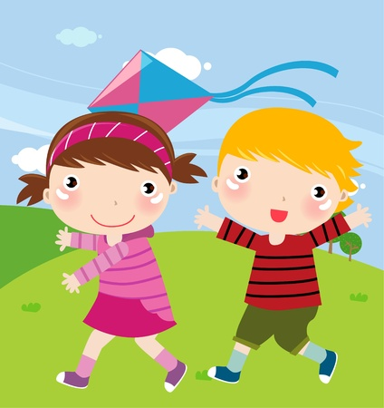 Illustration of funny summer background with children and kite