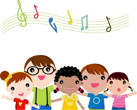 Children singing. illustration.