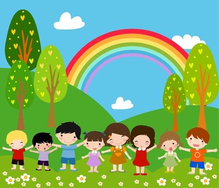 Ilustración de Children and rainbow - Art Illustration.  - Imagen libre de derechos