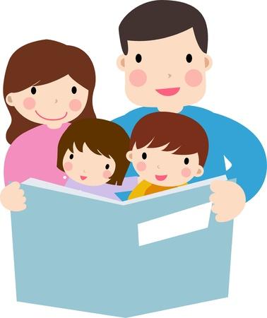 Family reading story to children