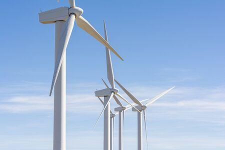 Photo pour Detail of several heads of windmills - image libre de droit