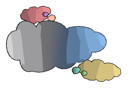 idea concept, different colored clouds with white background