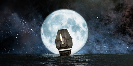 Photo pour moon, boat and reflection in the water - image libre de droit