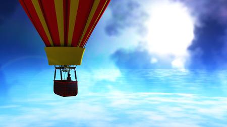 hot air balloon and blue sky