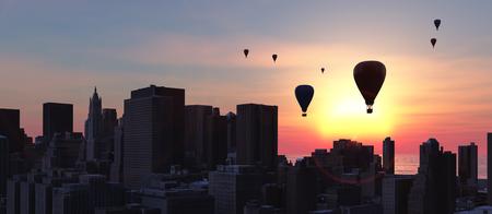 hot air balloons and skyscraper