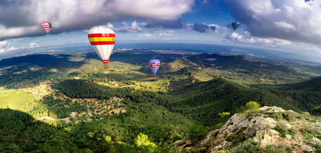 hot air balloons and blue sky in majorca