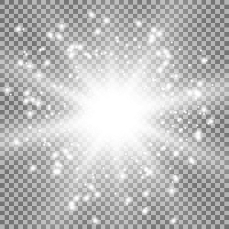 Star burst with sparks light effect on transparent background white color