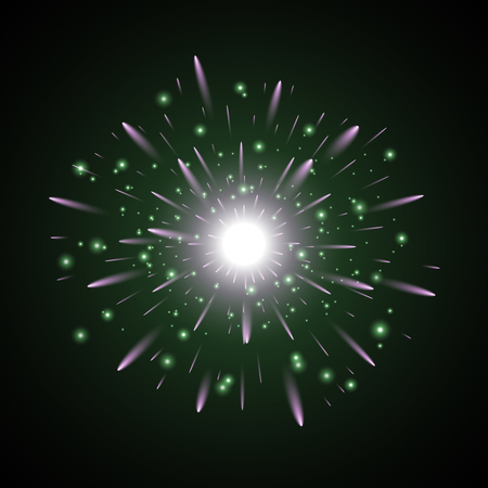 Glowing light with sparks star burst on black background green and purple colors