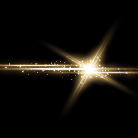 Illustration for Shining star with a stardust , lights and bursts sparkles with stardust on black background, light effect, golden color - Royalty Free Image