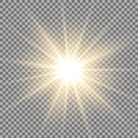 Ilustración de Sunlight with lens flare effect, shining star on transparent background, light effect, golden color - Imagen libre de derechos