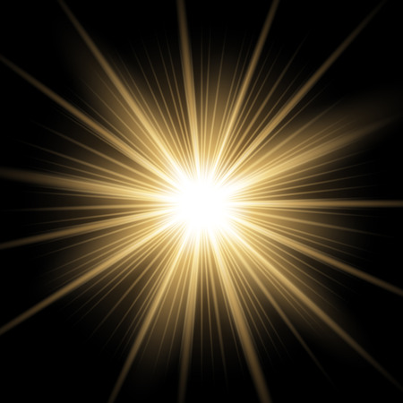 Ilustración de Sunlight with lens flare effect, shining star on black background, light effect, golden color - Imagen libre de derechos