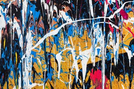 Dripping paint graffiti wall close