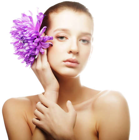 Photo for woman portrait with chrysanthemum. Spa treatment. - Royalty Free Image