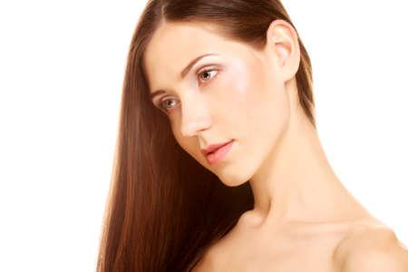 Photo pour portrait with beautiful bright brown long hair - image libre de droit