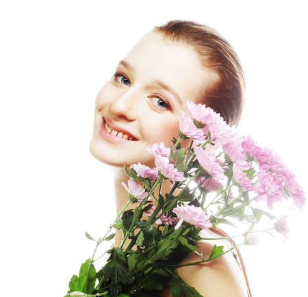 Photo for Young woman portrait with pink chrysanthemum - Royalty Free Image