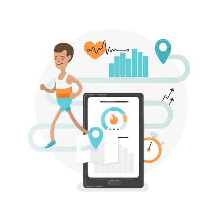 Fresh and modern illustration. A young running man with mobile app signes.