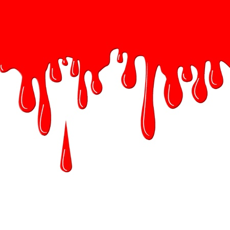 Flowing paint red drops. Vector illustration, EPS8