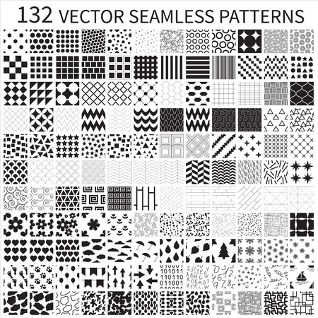 Set of vector geometric, polka dot, floral, decorative patterns