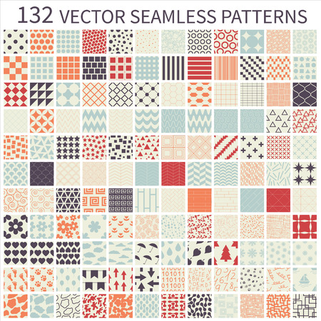 Set of seamless retro vector geometric, polka dot, decorative patterns.